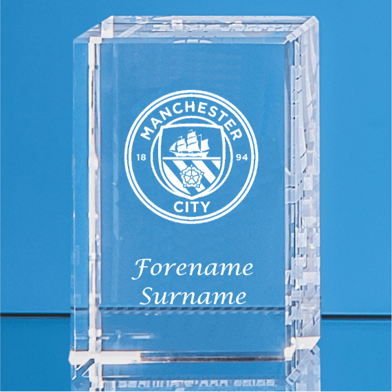 Manchester City FC Personalised Crystal Rectangle