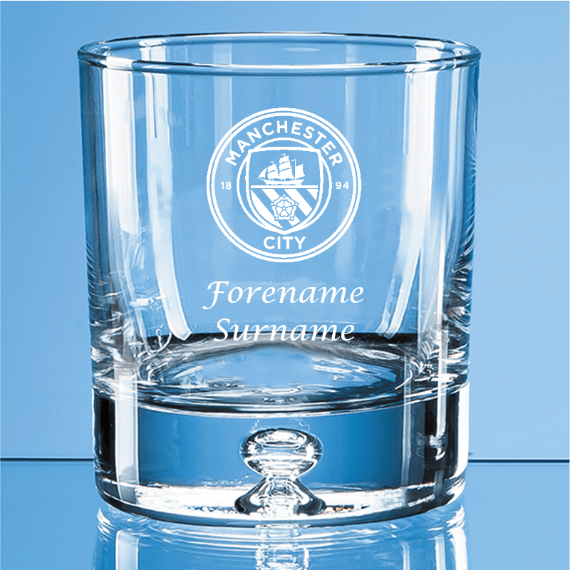 Manchester City FC Personalised Crest Bubble Base Whisky Tumbler