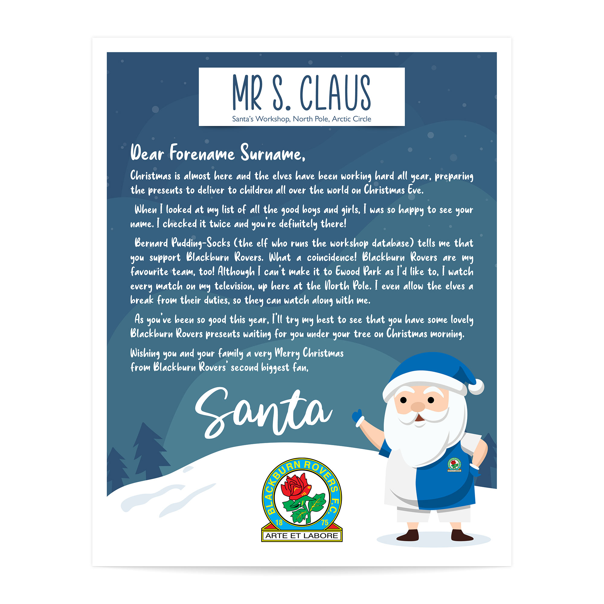 Blackburn Rovers FC Personalised Letter from Santa
