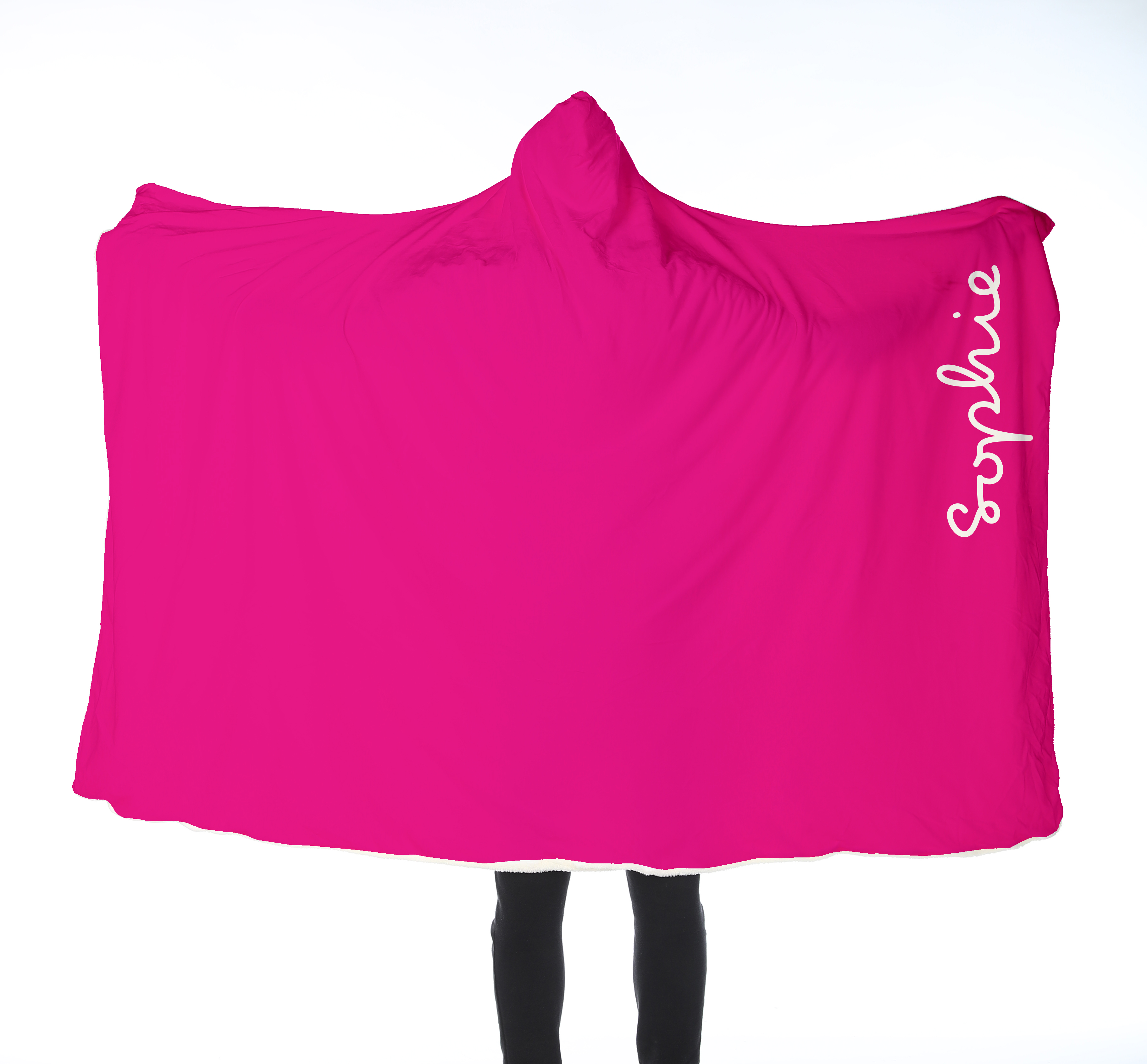 Adults Island Hooded Blanket - White on Pink