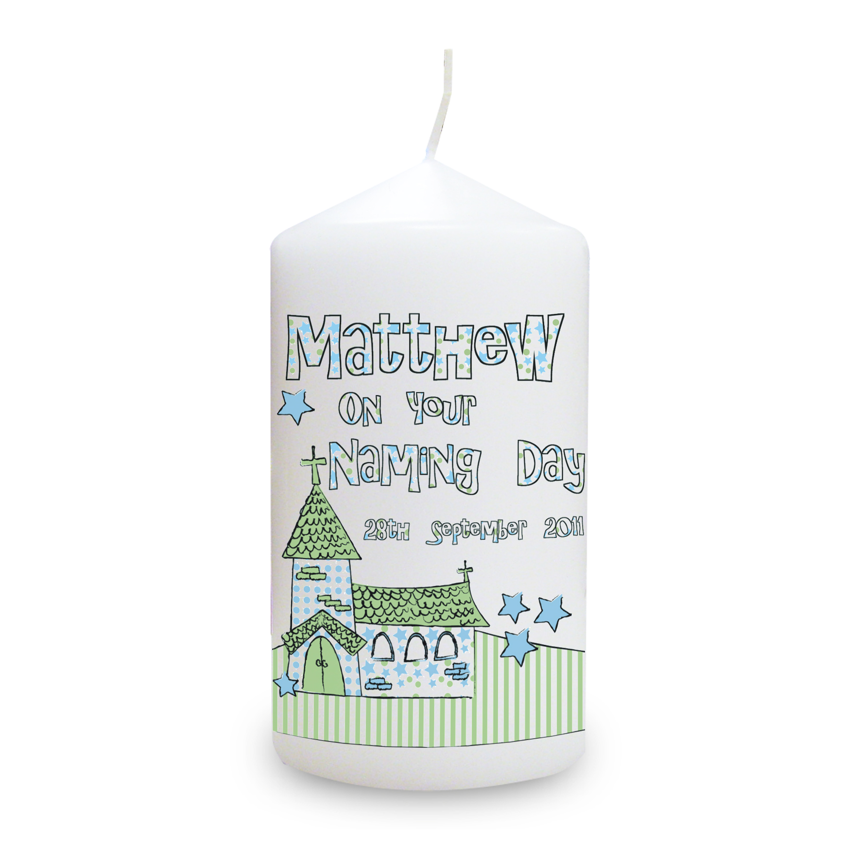 Personalised Blue Church Candle