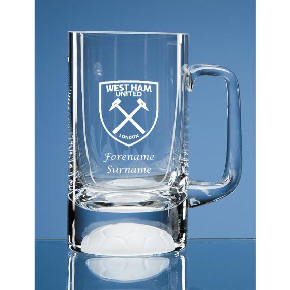 West Ham United FC Personalised Crest Half Pint Ball Base Tankard