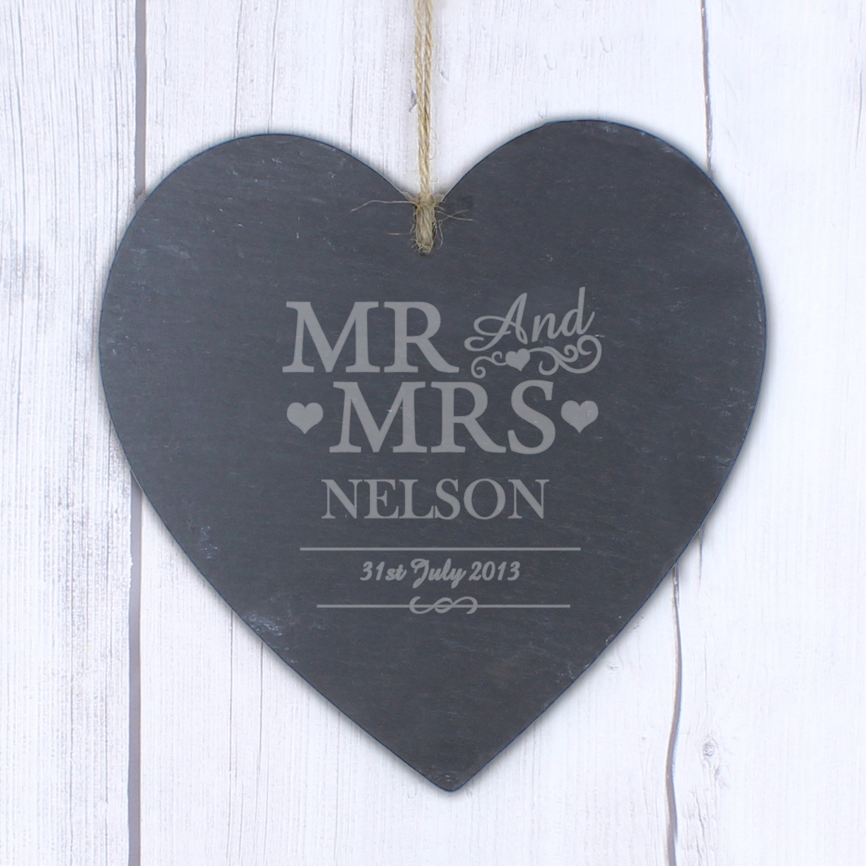 Engraved Mr & Mrs Slate Heart