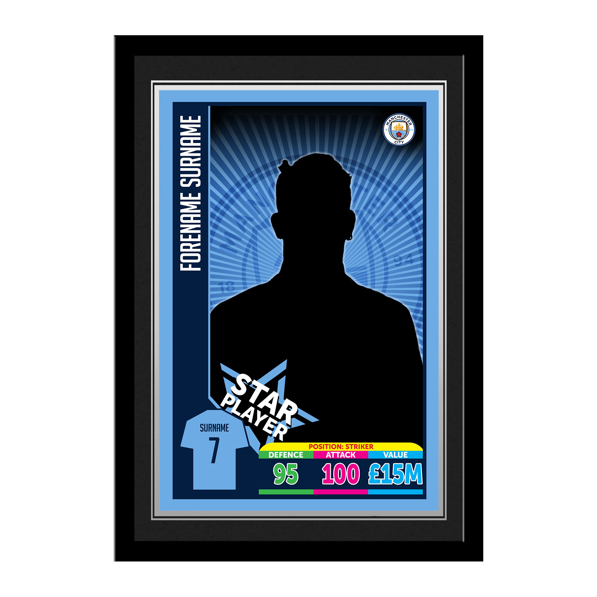 Manchester City FC Trading Card Print Framed