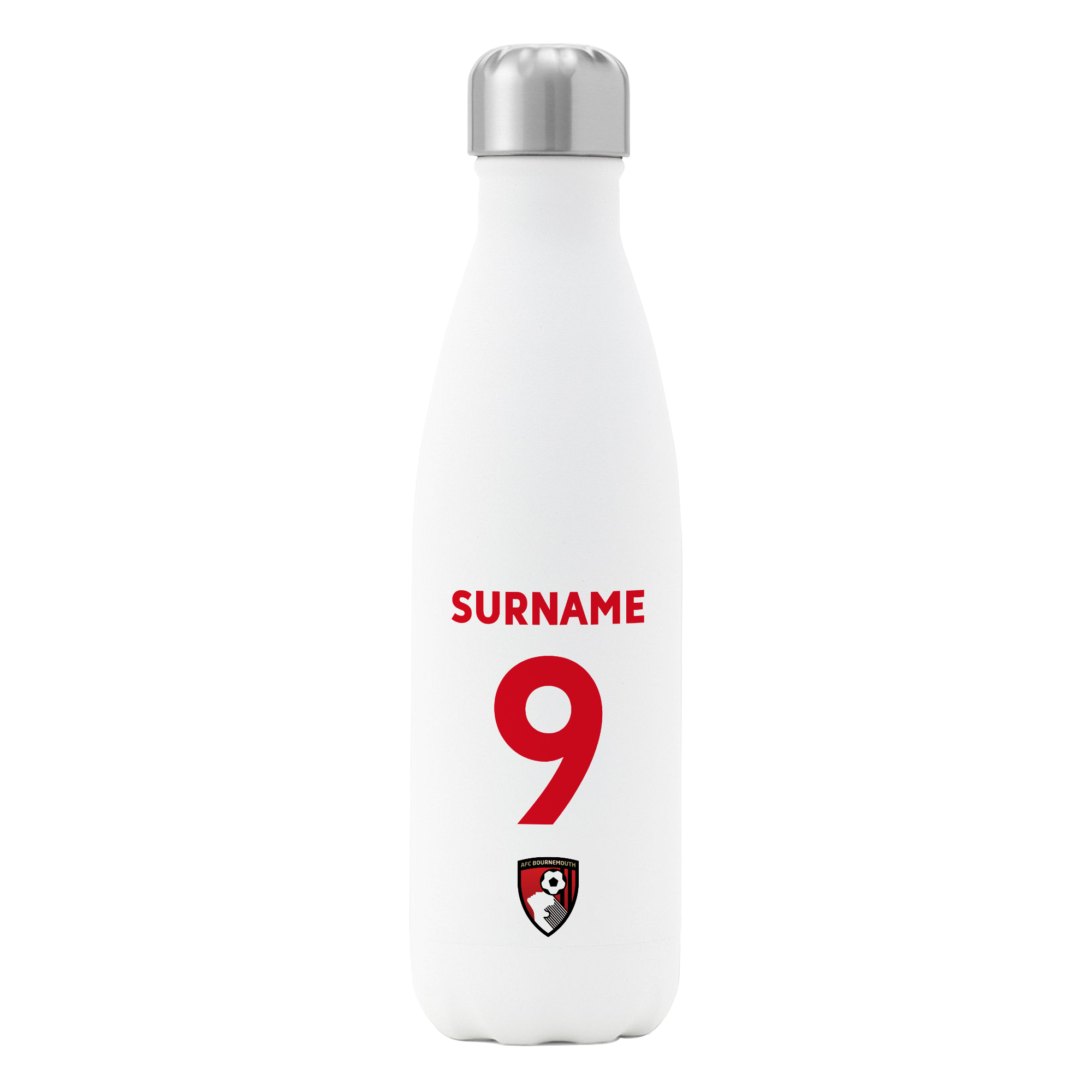 AFC Bournemouth Back of Shirt Insulated Water Bottle - White