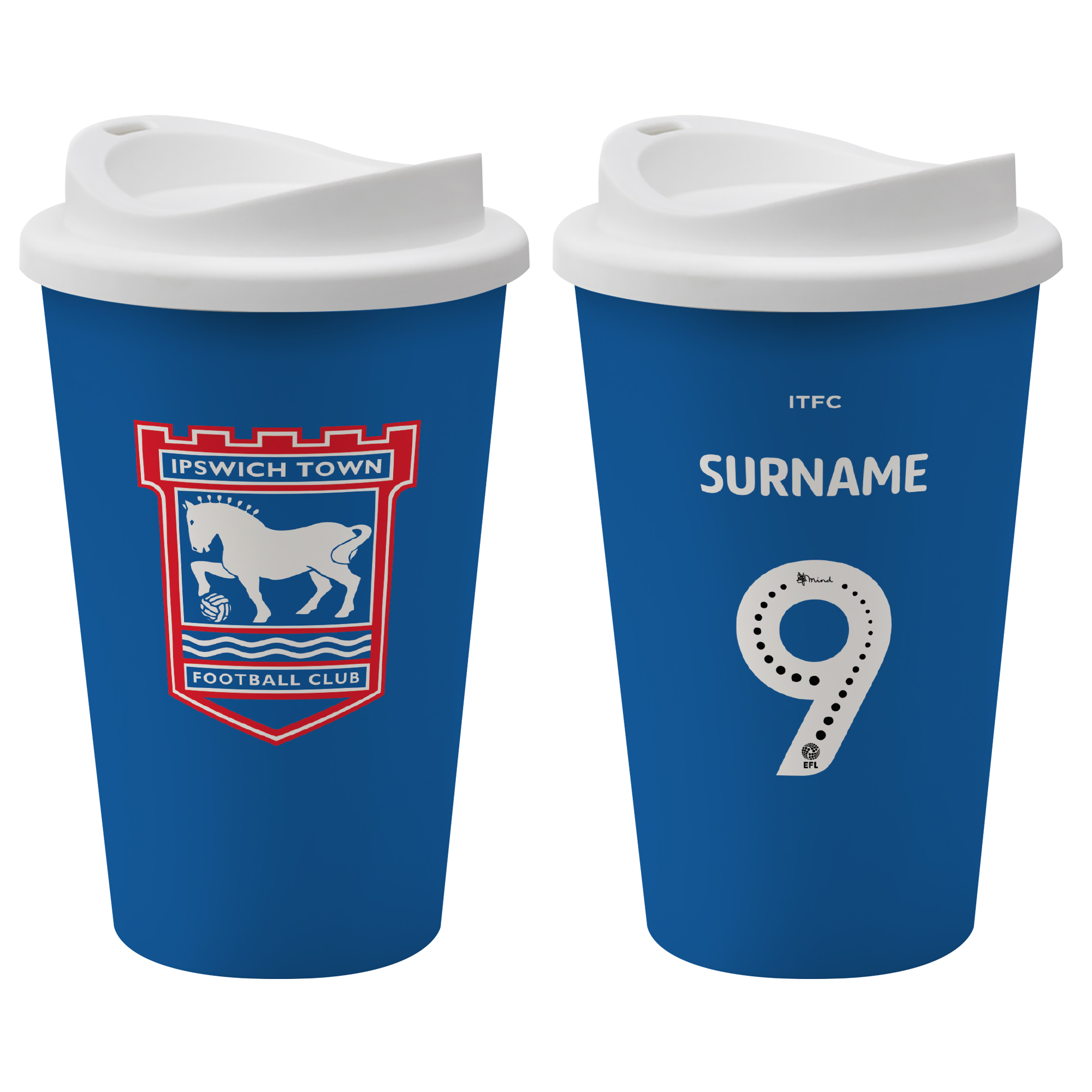 Ipswich Town FC Back of Shirt Reusable Cup