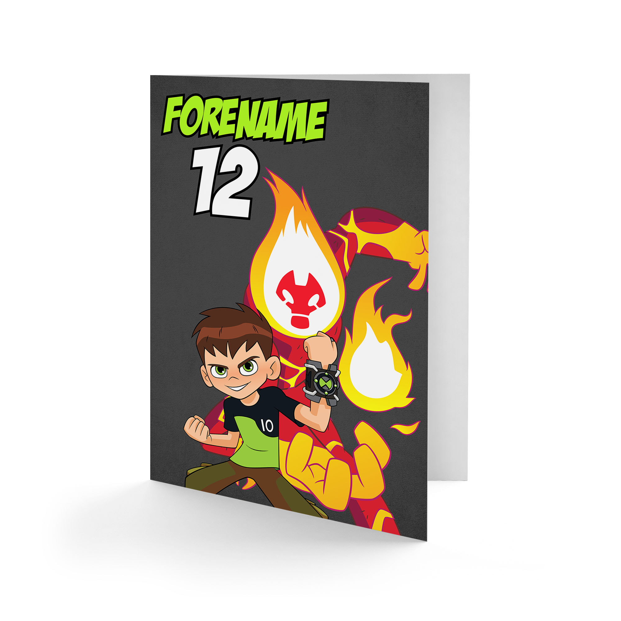 Ben 10 Heatblast Name and Age Birthday Card