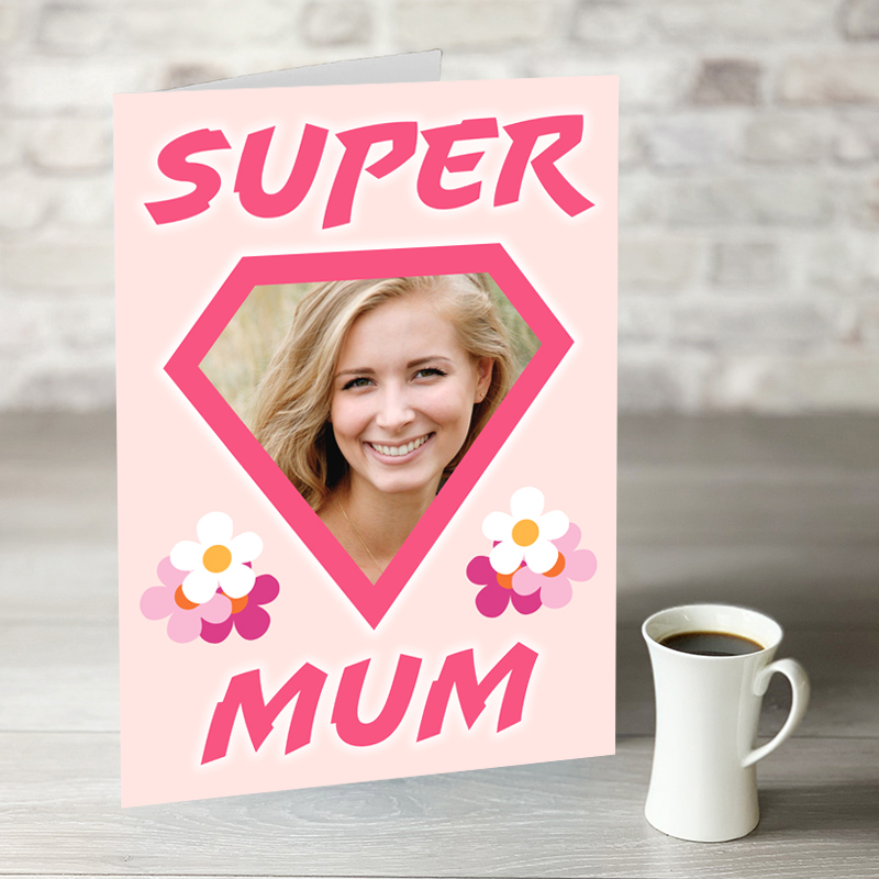 XL Super Mum Mother's Day Card With Photo Upload