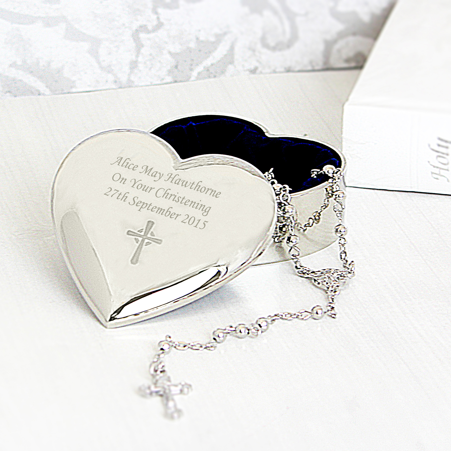 Engraved Rosary Beads and Cross Heart Trinket