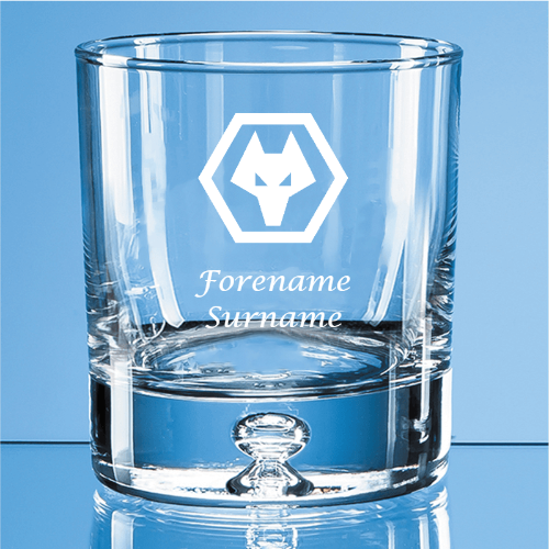 Wolves Crest Bubble Base Whisky Tumbler
