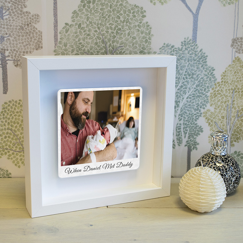 When... Met Daddy Floating Metal Photo Box Frame