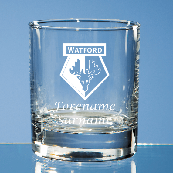 Watford FC Personalised Crest Bar Line Old Fashioned Whisky Tumbler