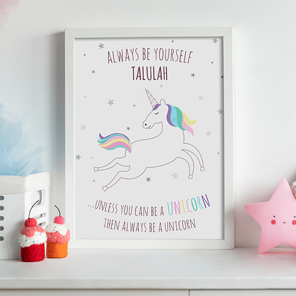 Unicorn Print In White A3 Frame Lifestyle Girls Bedroom
