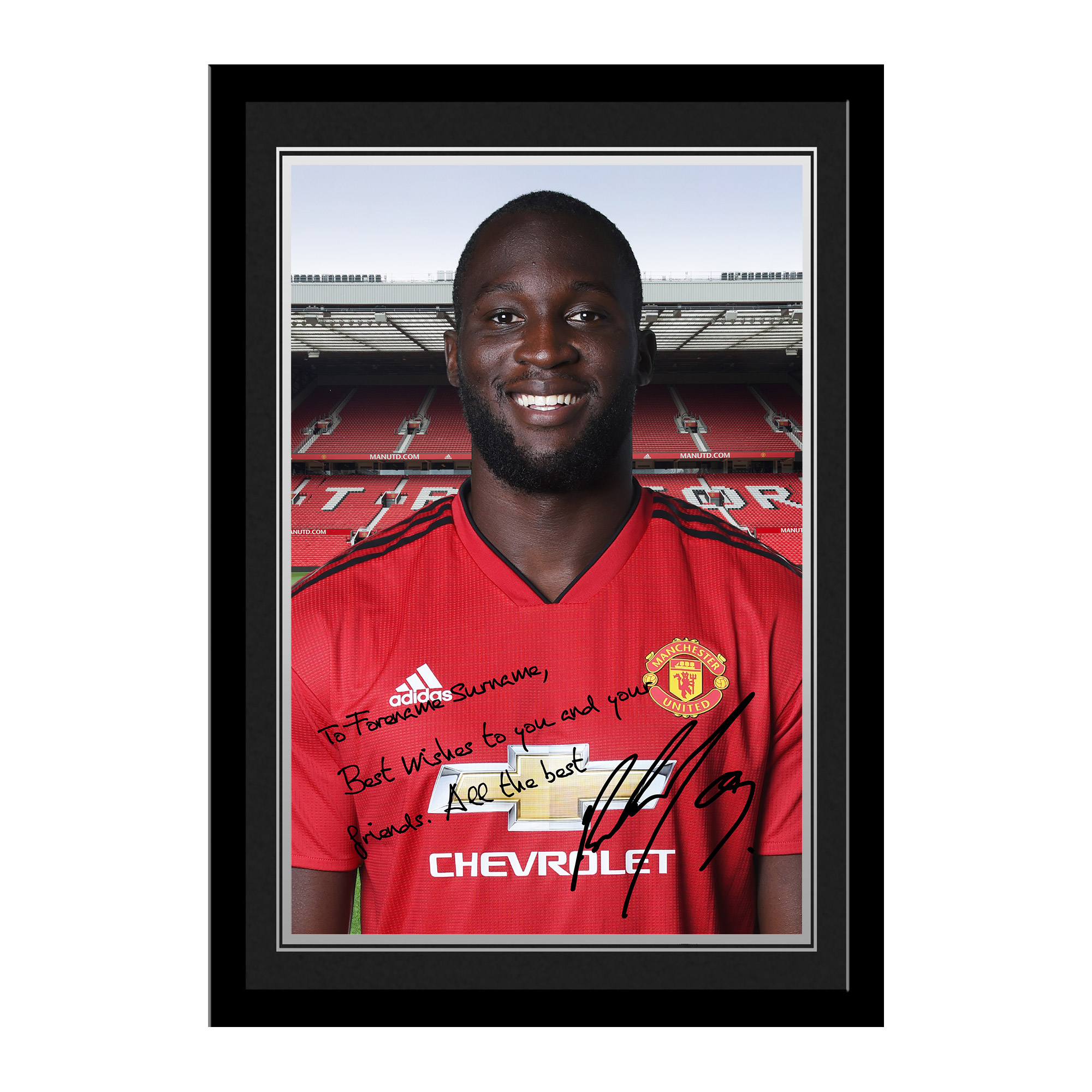 Manchester United FC Lukaku Autograph Photo Framed