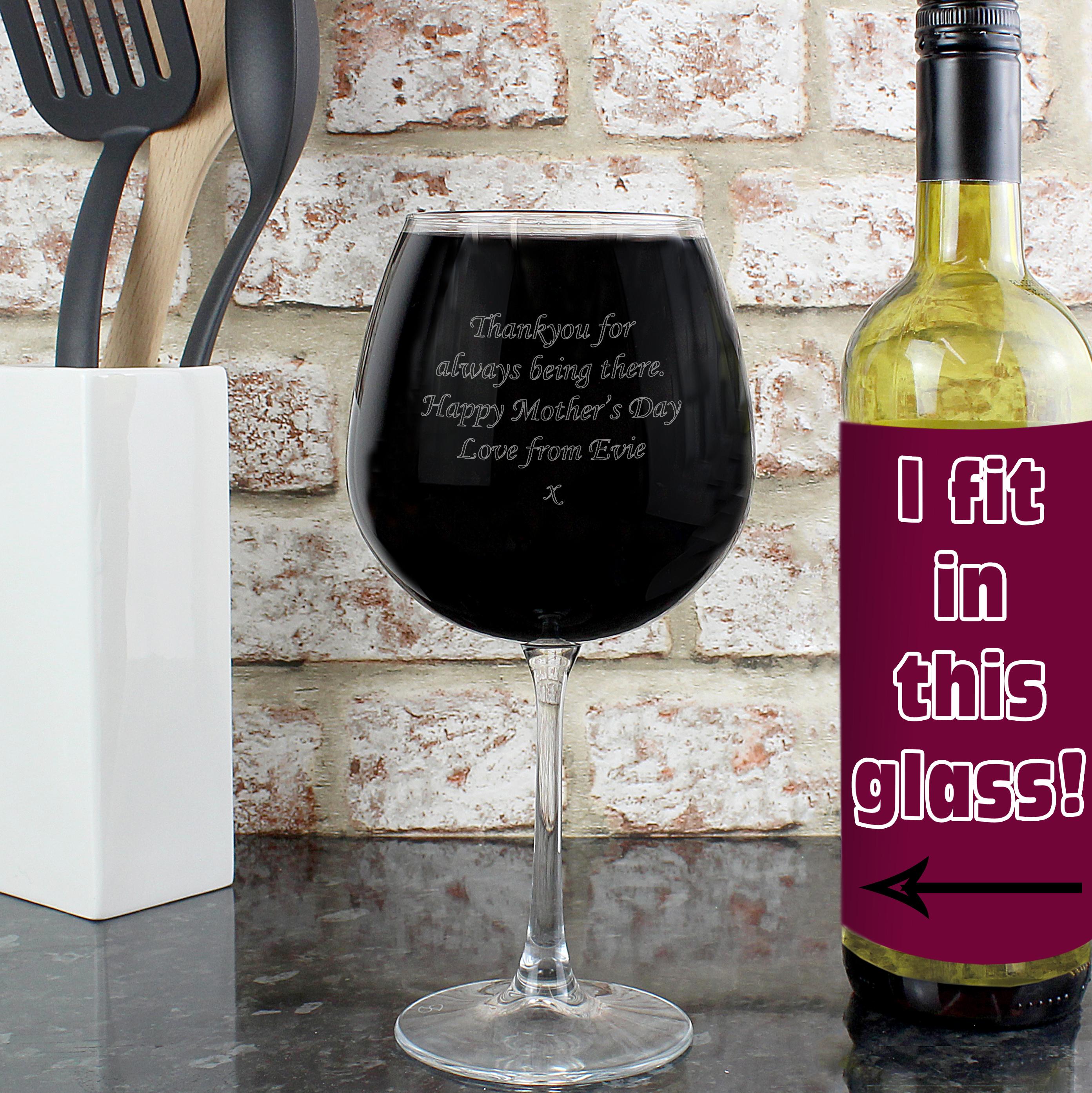 Engraved Bottle of Wine Glass