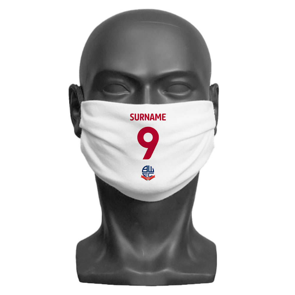 Bolton Wanderers FC Back of Shirt Adult Face Mask (Medium)