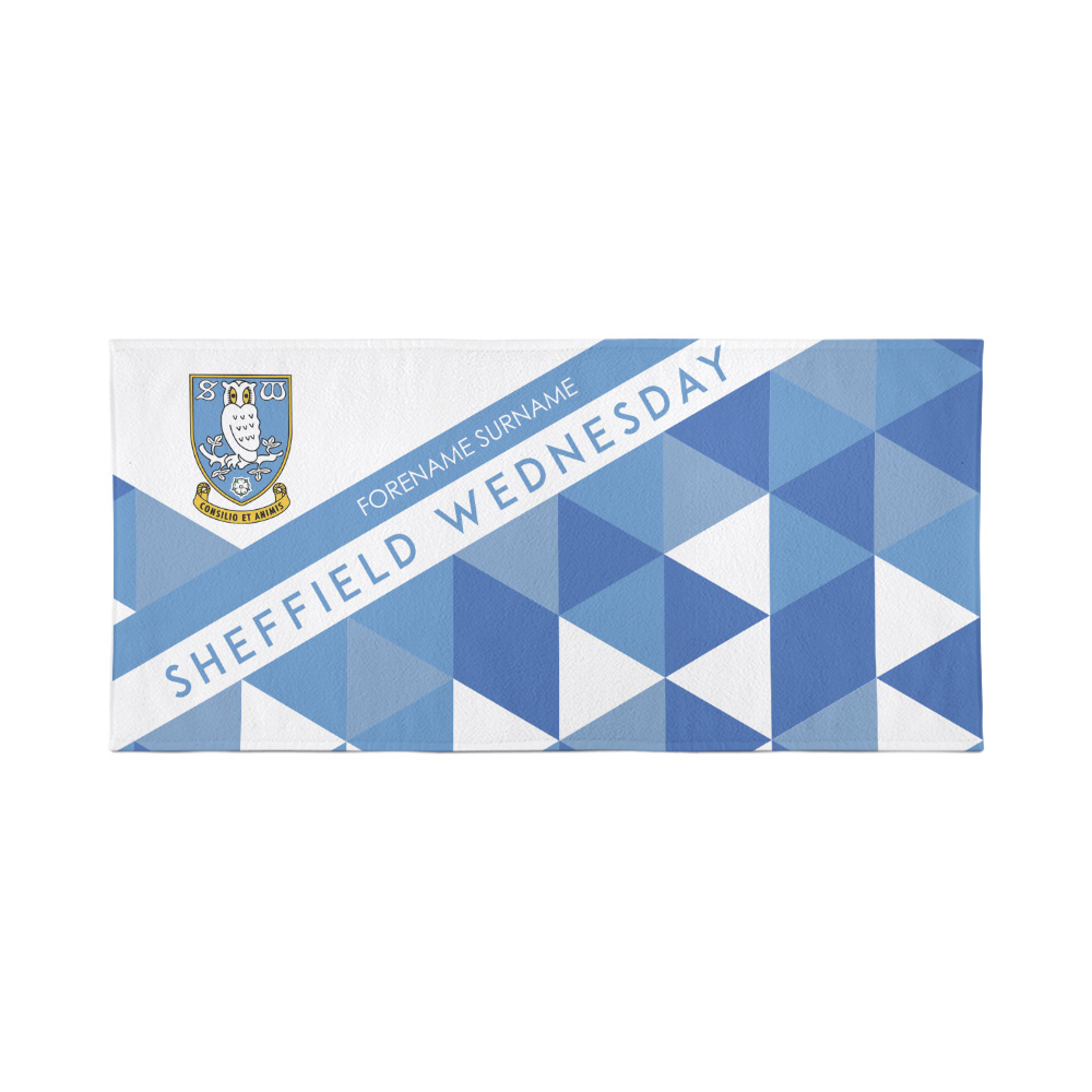 Sheffield Wednesday Personalised Towel - Geometric Design - 70 x 140