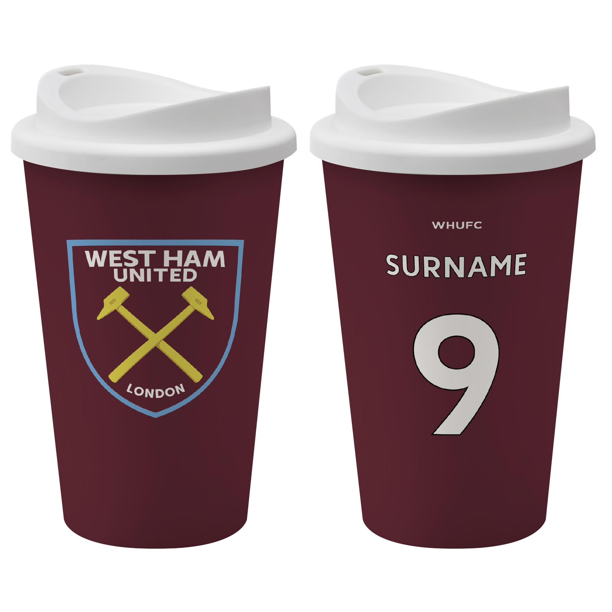 West Ham United FC Back of Shirt Reusable Cup