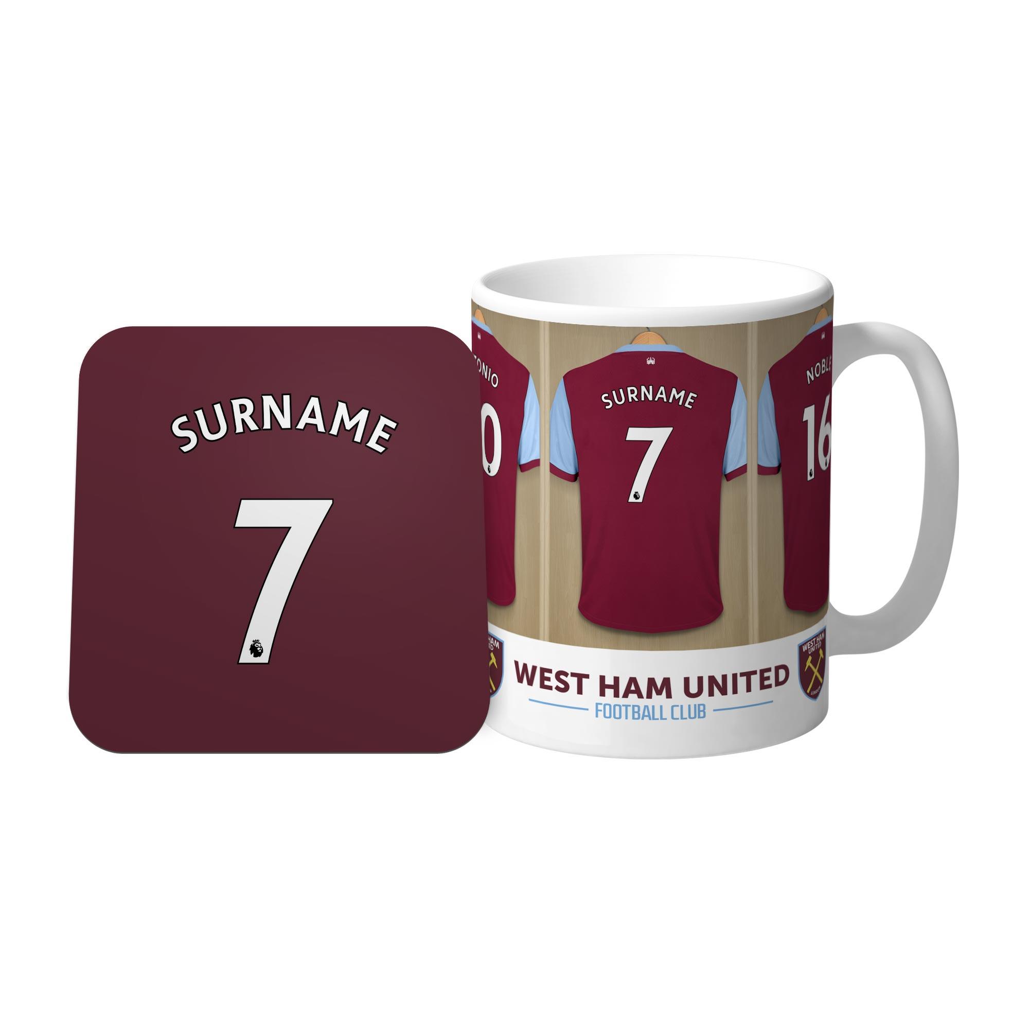West Ham United FC Dressing Room Mug & Coaster Set
