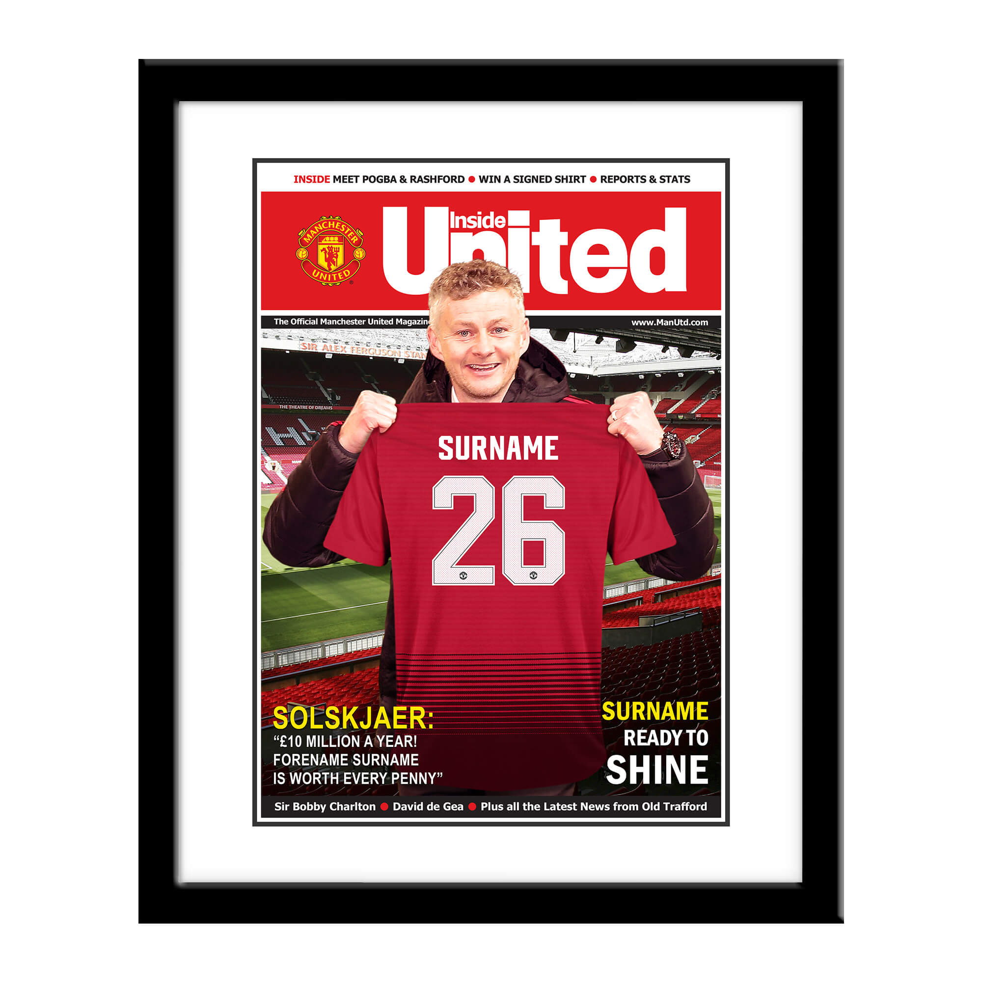 Manchester United FC Magazine Front Cover Framed Print
