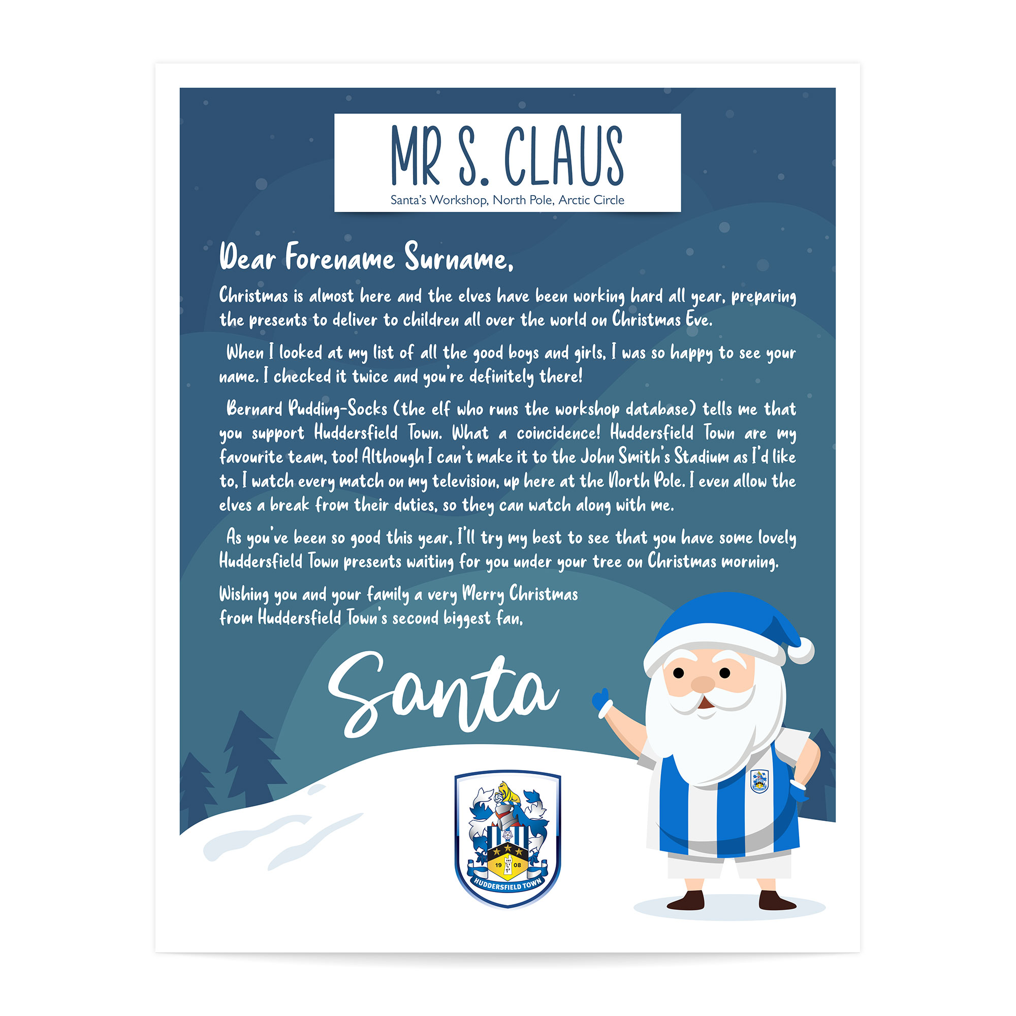 Huddersfield Town AFC Personalised Letter from Santa