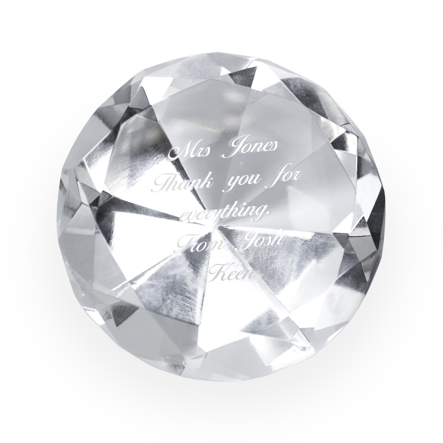 Engraved Crystal Diamond Paperweight
