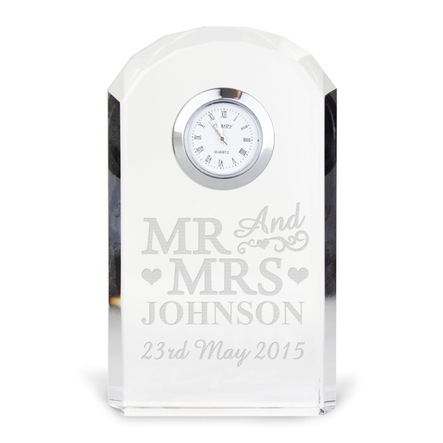 Engraved Mr and Mrs Crystal Clock