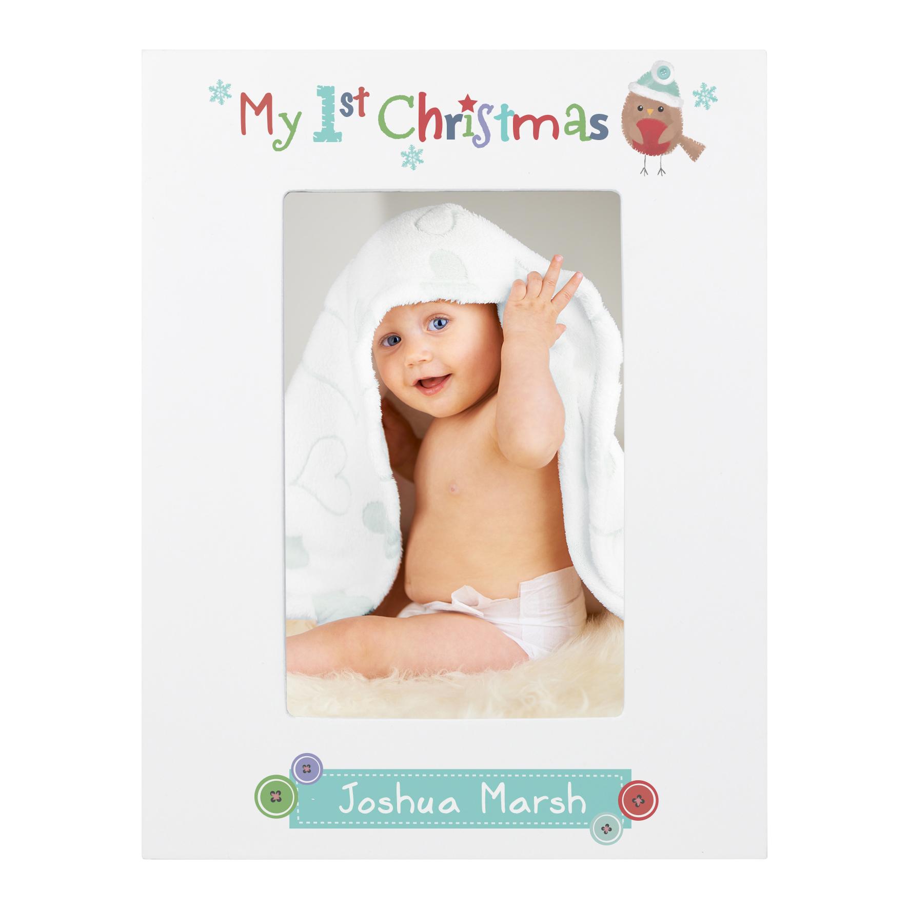 Personalised Felt Stitch Robin My 1st Christmas 6x4 White Wooden Frame