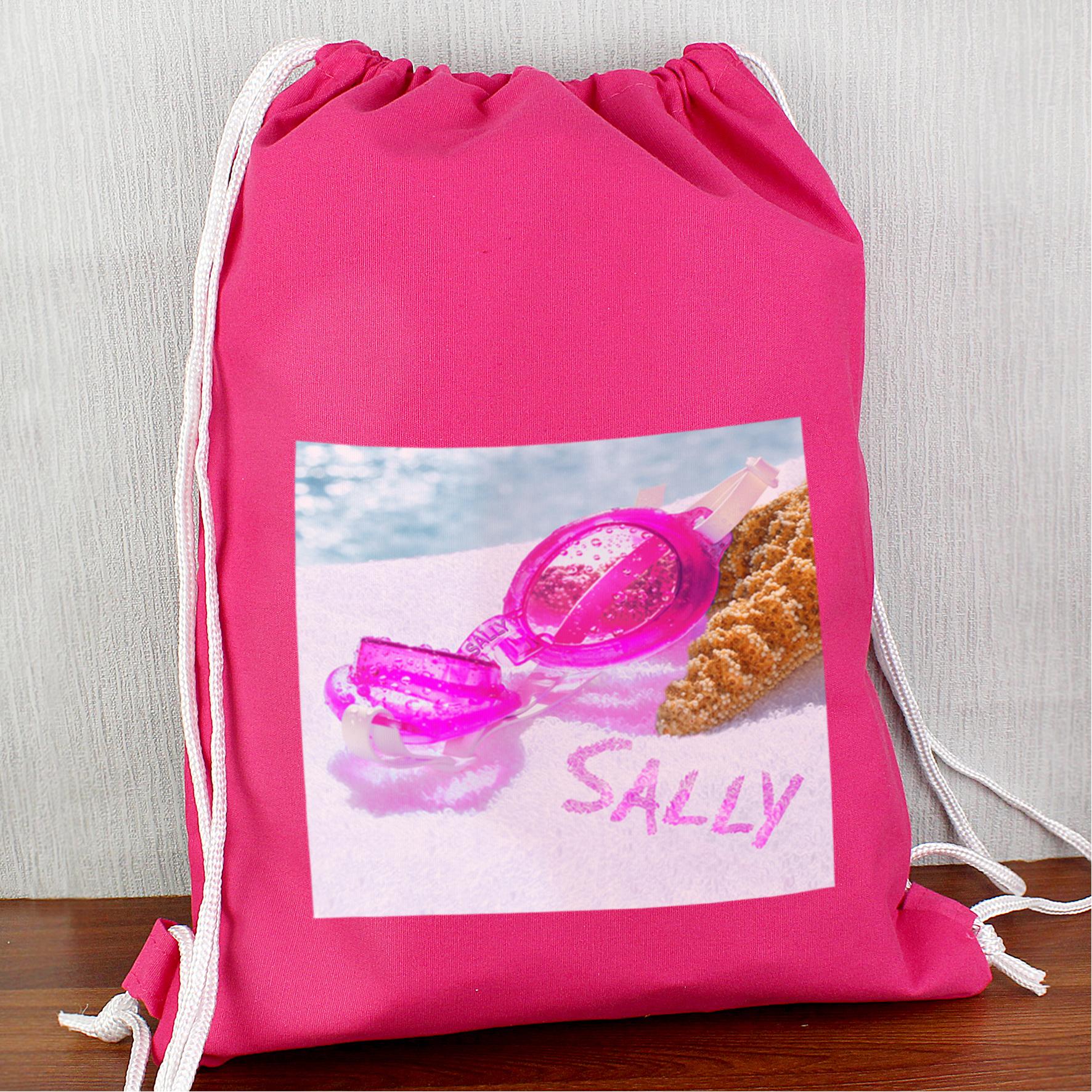 Personalised Swimming Goggles Pink Swim Bag