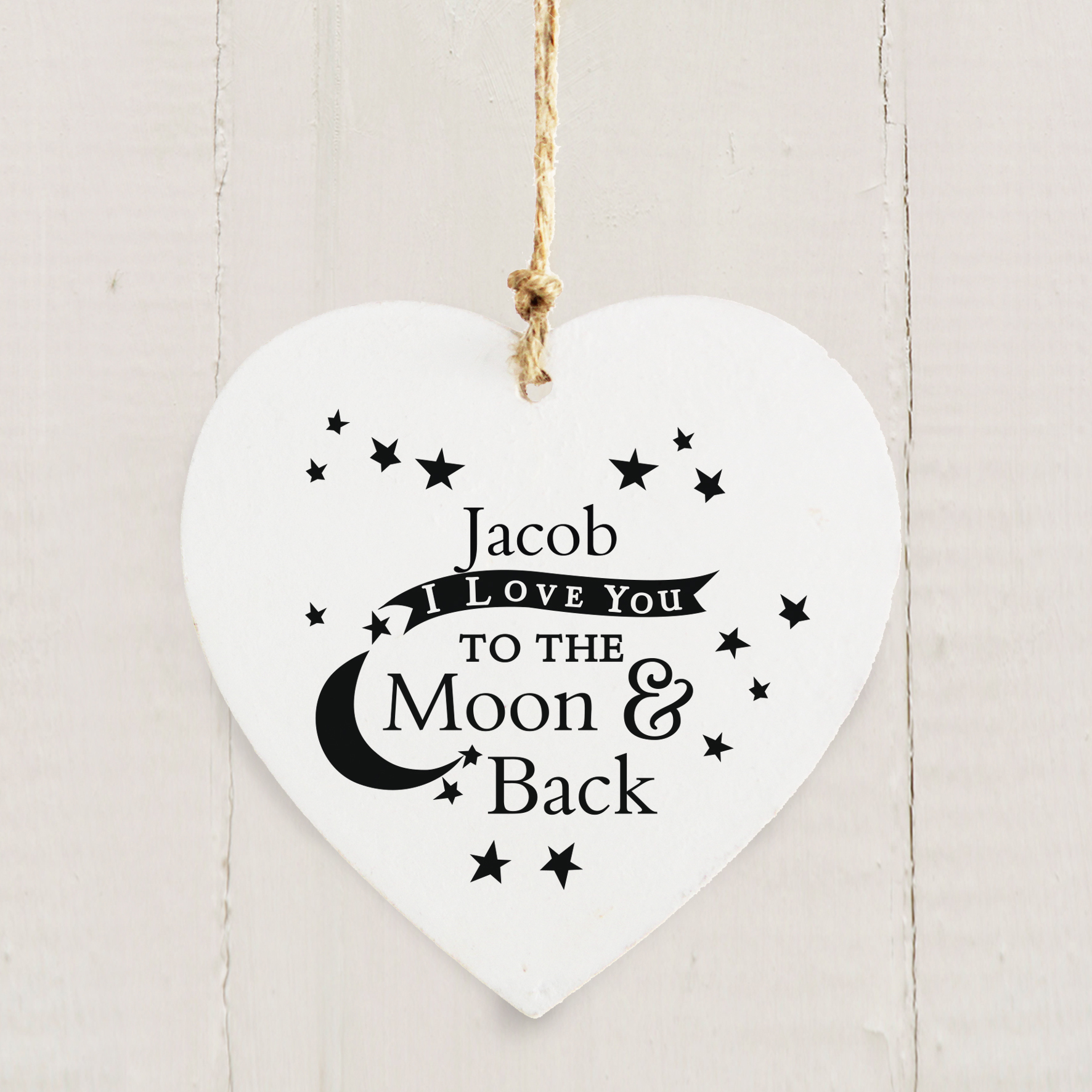 Personalised To the Moon and Back... Wooden Heart Decoration