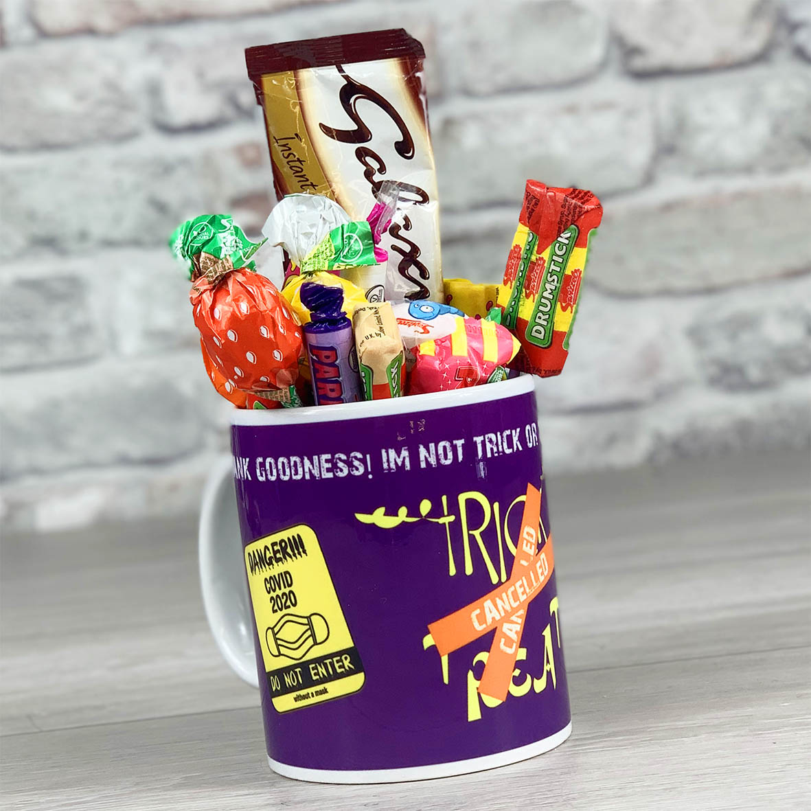 Trick Or Treat Is Cancelled Purple  - Mug With Sweets