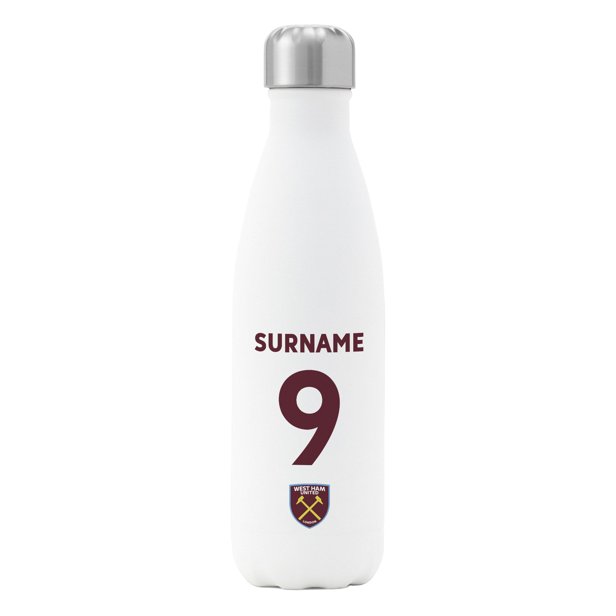 West Ham United FC Back of Shirt Insulated Water Bottle - White
