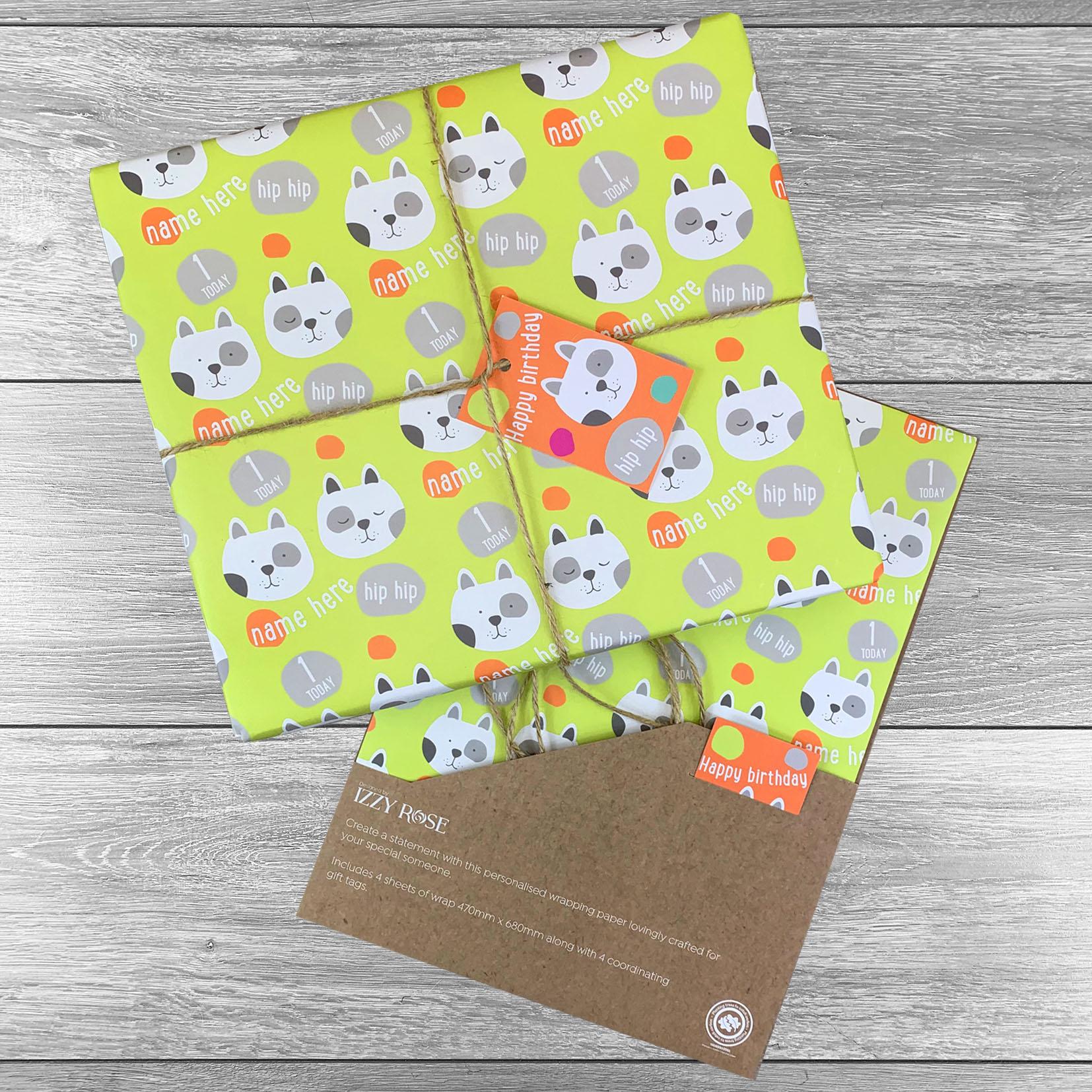 Doggie Birthday Giftwrap - Multiple colour choices