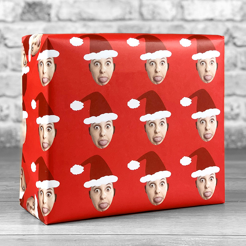 Santa Hat Red Gift Wrap with Face Upload