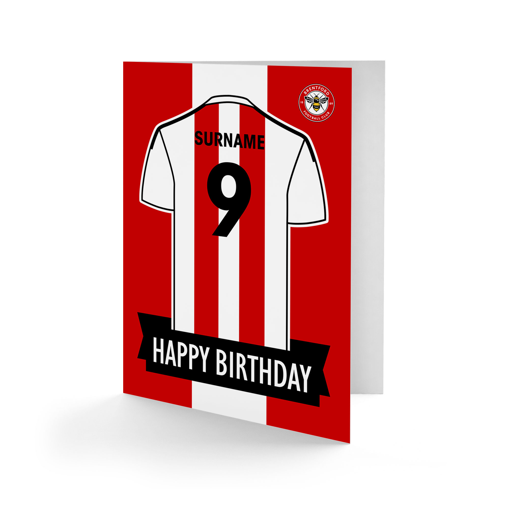 Brentford FC Shirt Birthday Card
