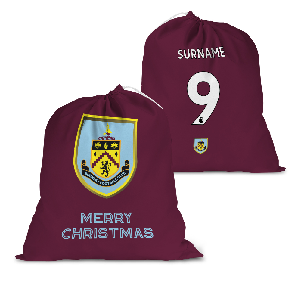 Burnley FC Back of Shirt Santa Sack