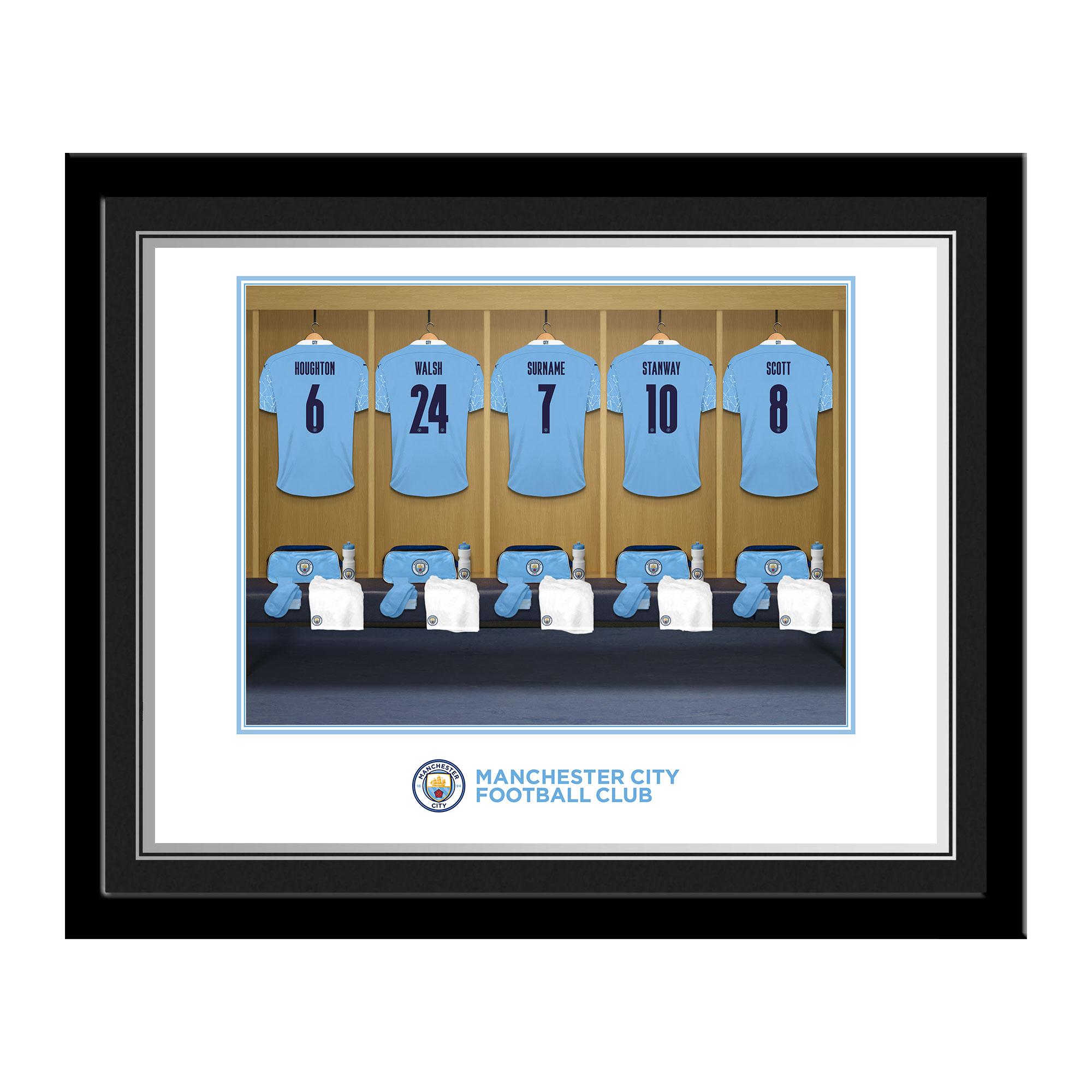 Manchester City FC Women's Team Dressing Room Photo Framed