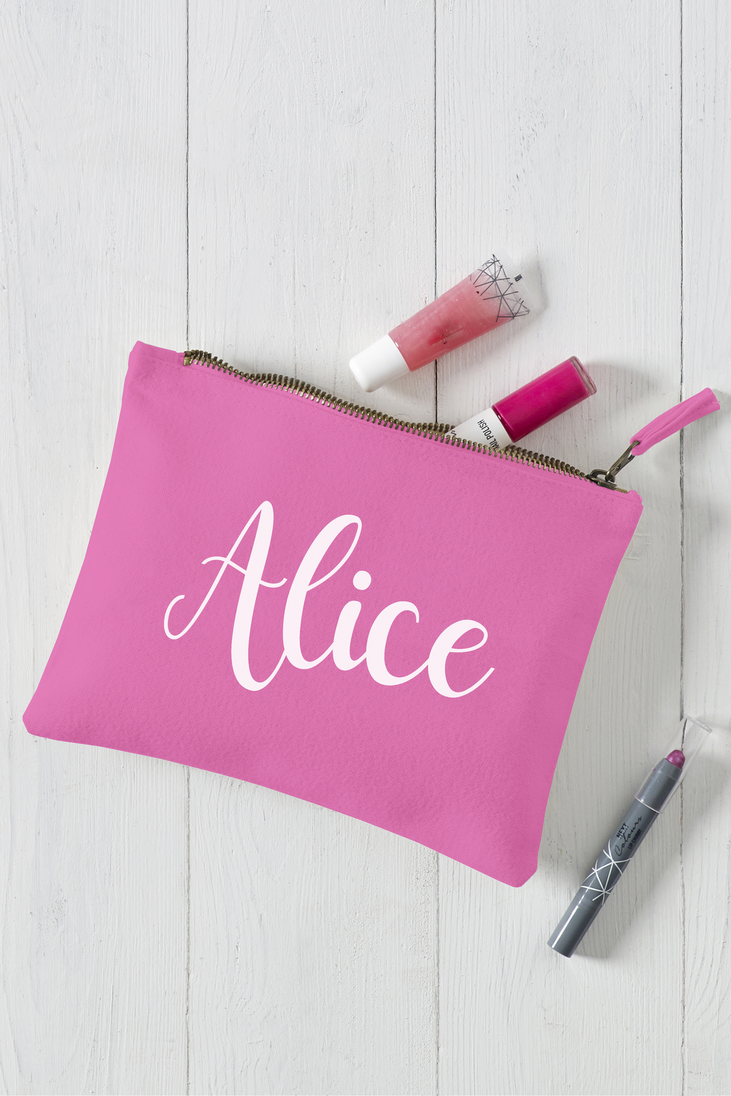 White Scroll Text Pink Makeup Bag