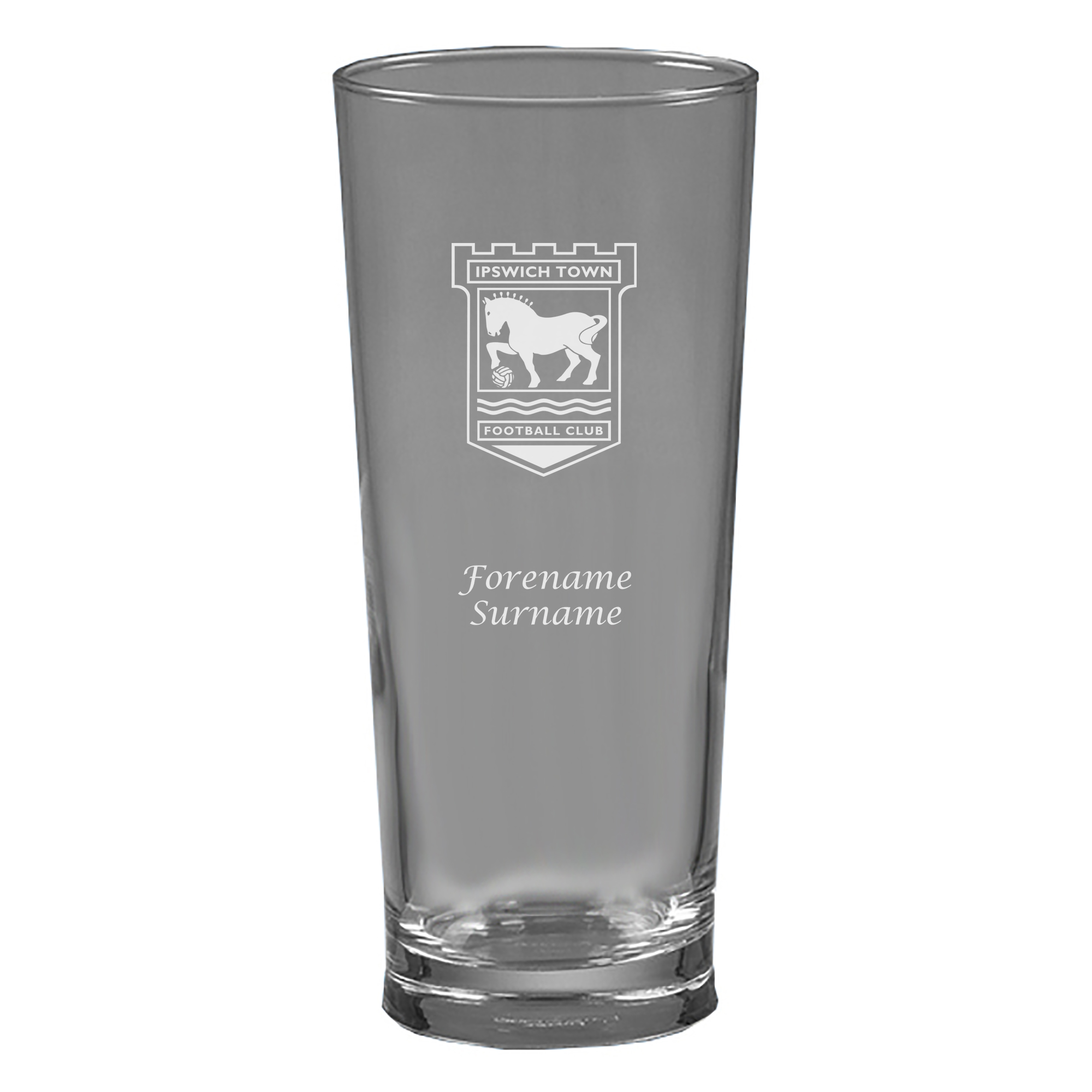 Ipswich Town FC Personalised Crest Straight Sided Beer Glass