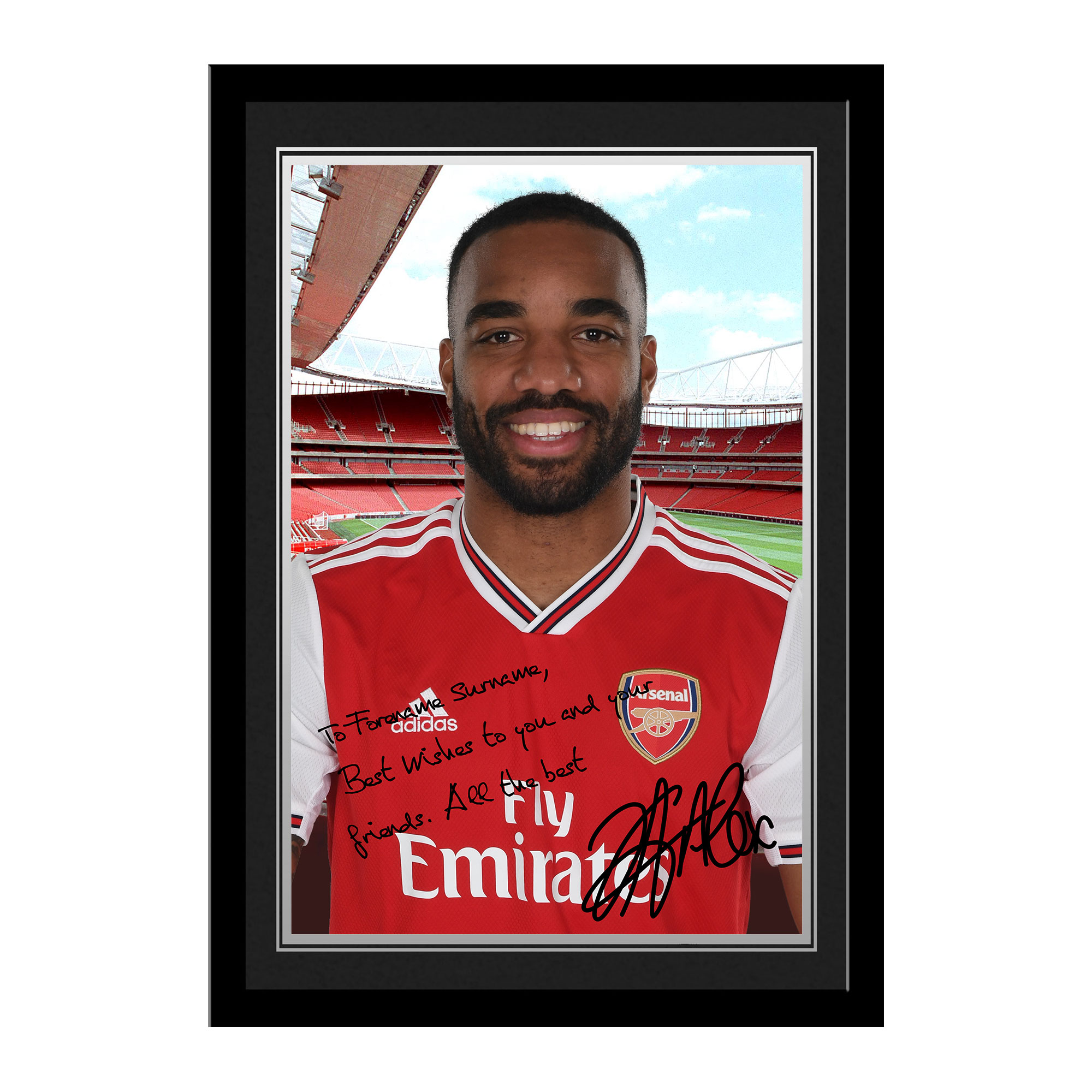 Arsenal FC Lacazette Autograph Photo Framed