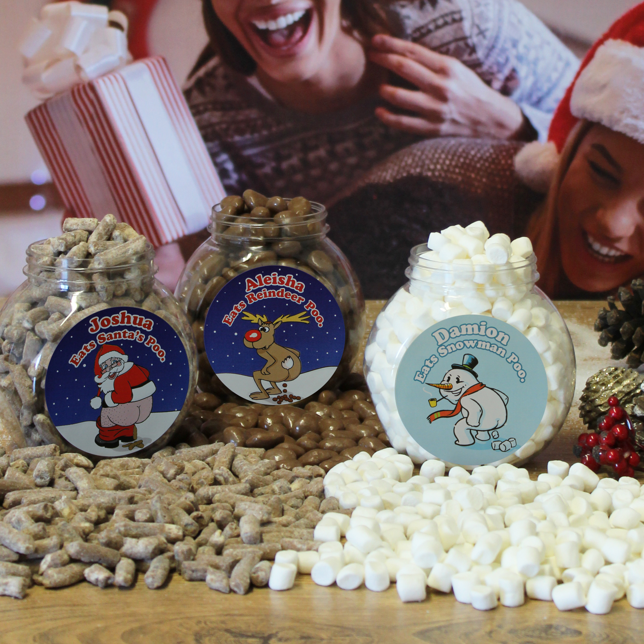 Personalised Christmas Poo Jar Set