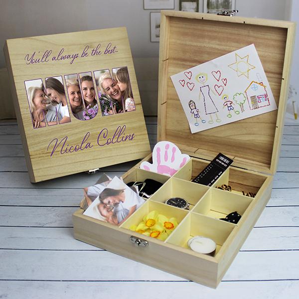 MUM Photo Gift - 9 Compartment Wooden Keepsake Box