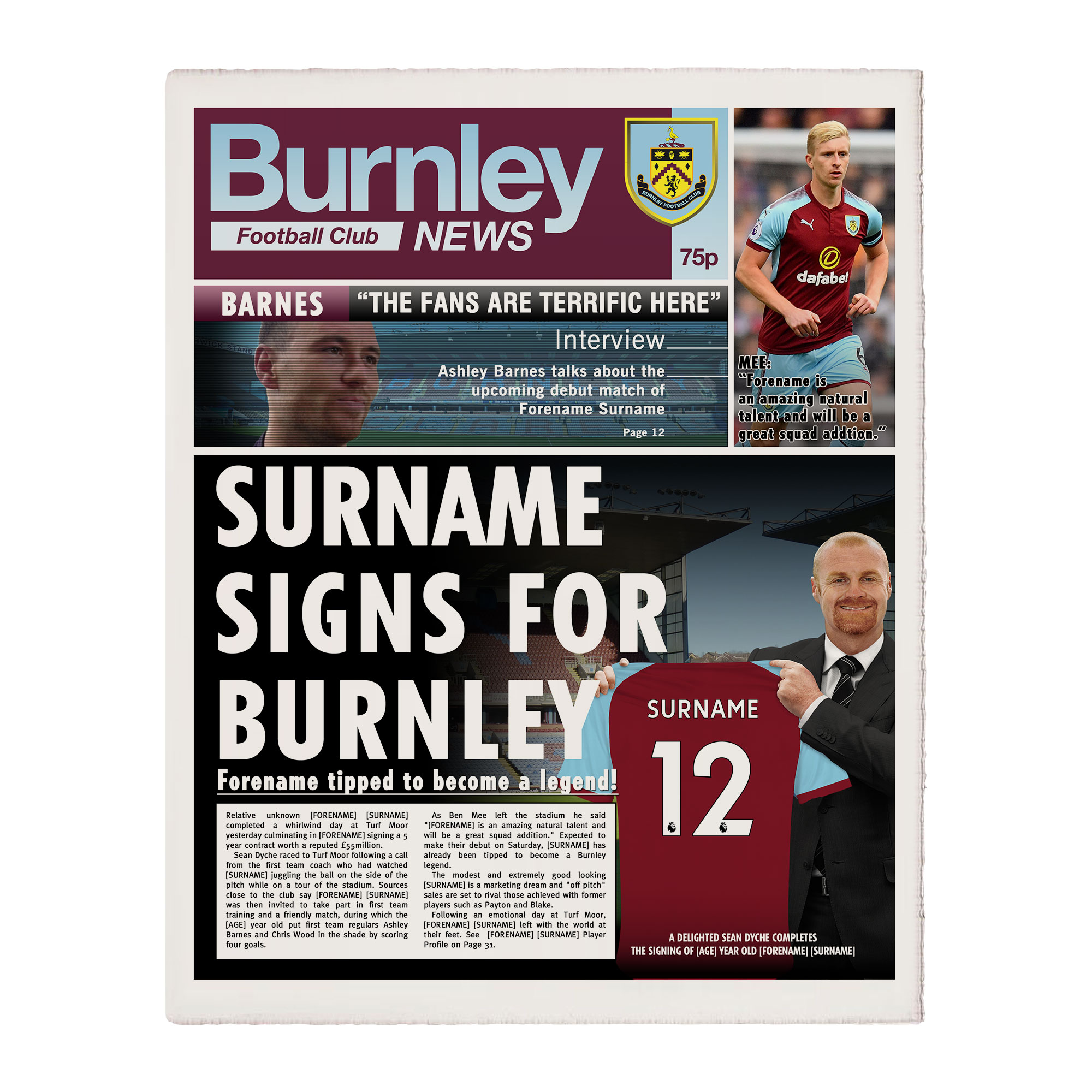 Burnley FC News Single Page Print