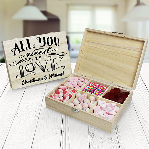 All You Need Is Love Wooden Sweet Box - 6 Compartment