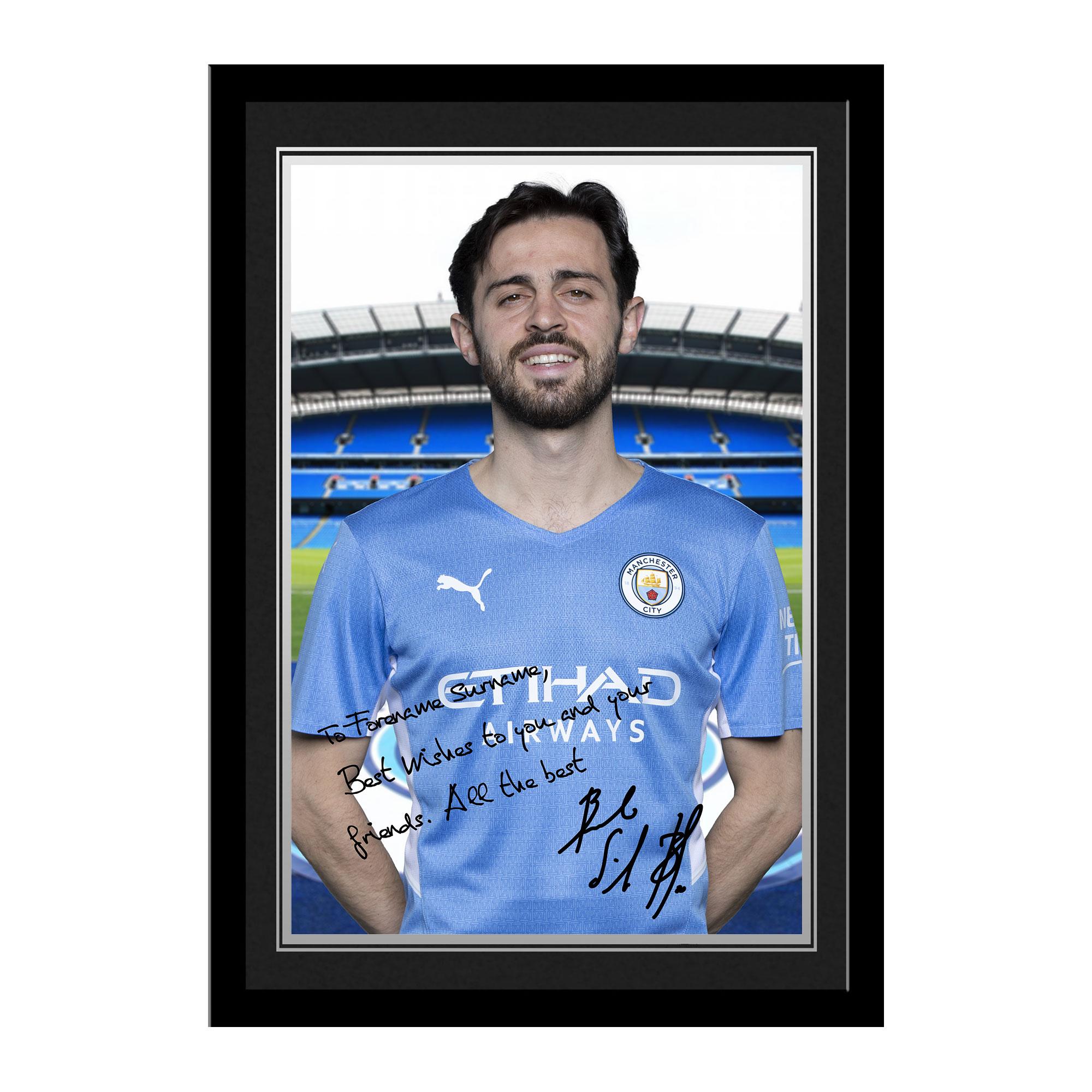 Manchester City FC Bernardo Autograph Photo Framed