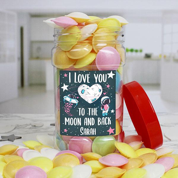 I LOVE YOU Flying Saucers Sweet Jar