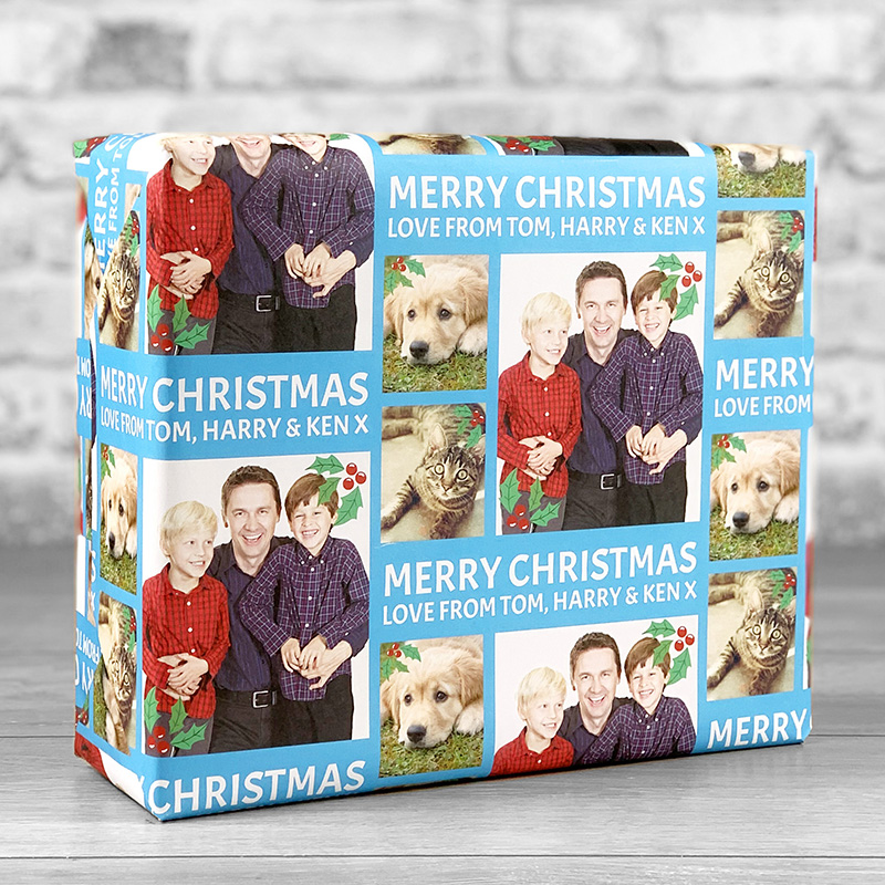 Merry Christmas Blue Gift Wrap with Personalised Message and 3 Photo Uploads