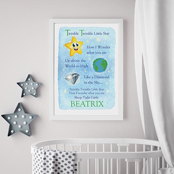 Personalised Twinkle Twinkle Little Star poster lifestyle shot in white frame