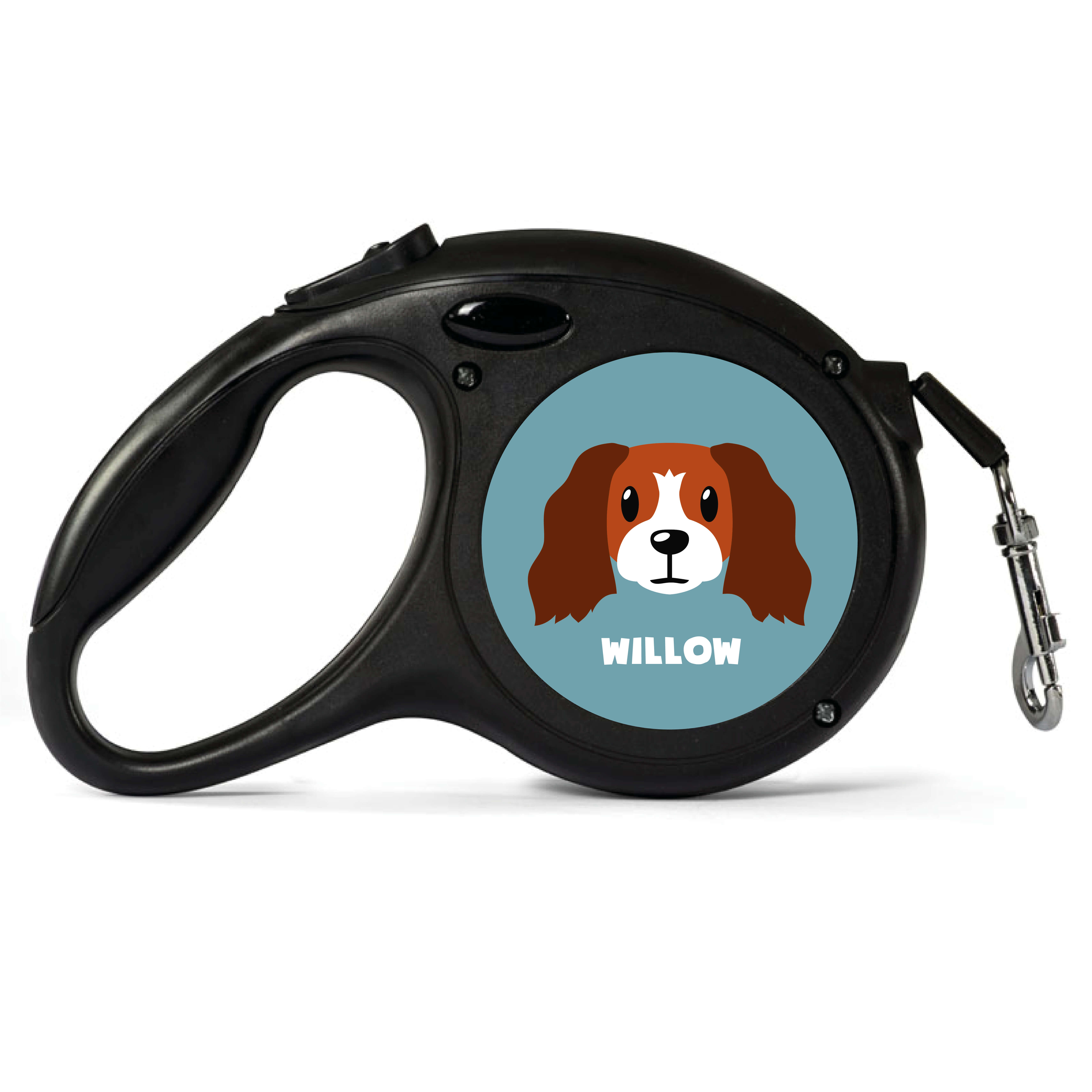 Personalised Red and White Cocker Spaniel Retractable Dog Lead - Small