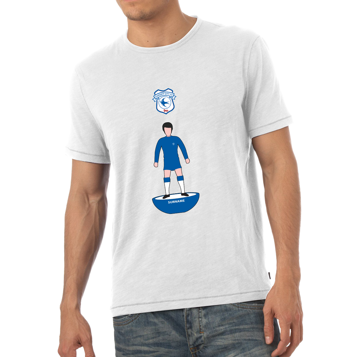 Cardiff City Player Figure Mens T-Shirt
